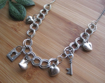 Cute Charm Necklace Hearts, Lock and Key - Silver Tone -  Cable Chain  FREE SHIPPING