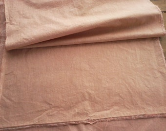 Antique Chambray Ticking Fabric - Madder -19th c - Doll Clothes Quilt Repair- Half Yard