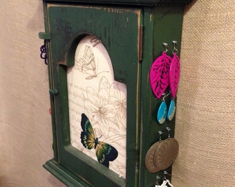 Upcycled Jewelry Organizing Display (Green Butterfly Cabinet)