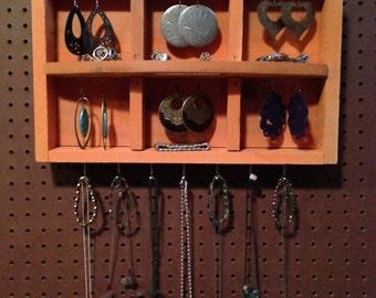 Upcycled Jewelry Organizing Display (Orange Tray)