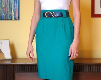 Teal Green Pencil Skirt 90s Belt Loops Size Small Vintage Women High Waisted XS
