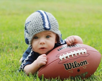 Football Helmet (Any Team) Crochet Beanie - Newborn through 4T Sizes Available
