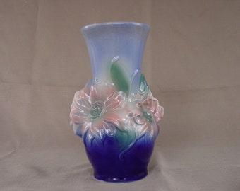 Beautiful Blue Flowered Ceramic Royal Copley Vase