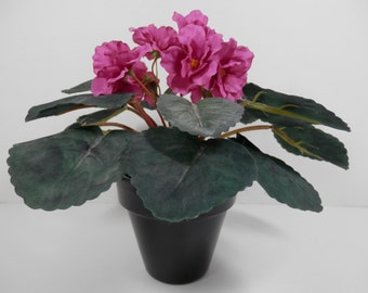 Small Potted Realistic Silk African Violet Centerpiece Fuchsia Color Flower Black Terra Cotta Pot Vase Table Tabletop Office Desk Plant Gift