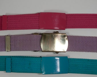 """3 Canvas 1"""" Wide Military Style Web Belt Slide Buckle Adjustable Textile Webbing 1990s Fuchsia Lavender Teal Ladies Hipster Stylish Fashion"""