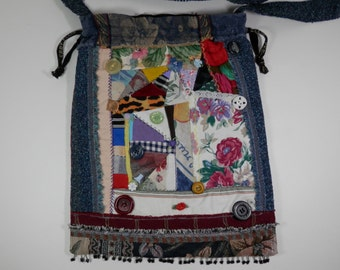 Multicolor Purse Denim Upholstery Crazy Quilt Style Eco Craft Crossbody Sling Drawstring Beaded Fringe Bohemian Gypsy Hippie Bag Accessory
