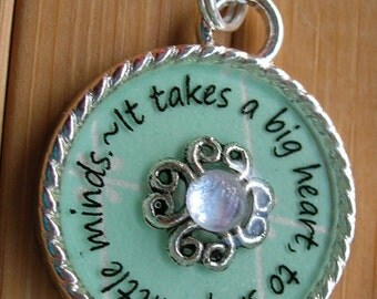 Teacher pendant ...It takes a big heart to shape little minds...pale turquoise blue word quote necklace gift teacher appreciation with chain