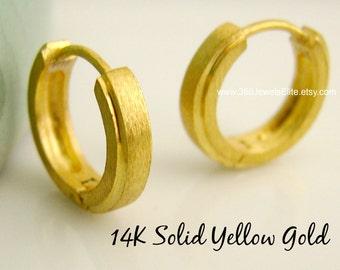 Megalopolitan bullion hoop earrings, men's hoop earrings, men's earrings hoops, small hoops,  14K gold hoop earrings, huggie hoops,  E002MY