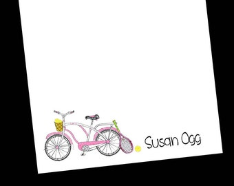 Personalized Bike and Tennis Notepad - Bicycle Stationery ~ 3 sizes