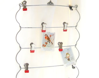 vintage skirt hanger.red tipped.wardrobe.display.photo holder.cards.scarves.hats.from tessiemay