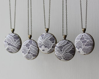 Set of 5 Bridesmaid Necklaces, White and Gray Wedding Jewelry, Unique Bridal Shower Favors, Wedding Lace Necklace