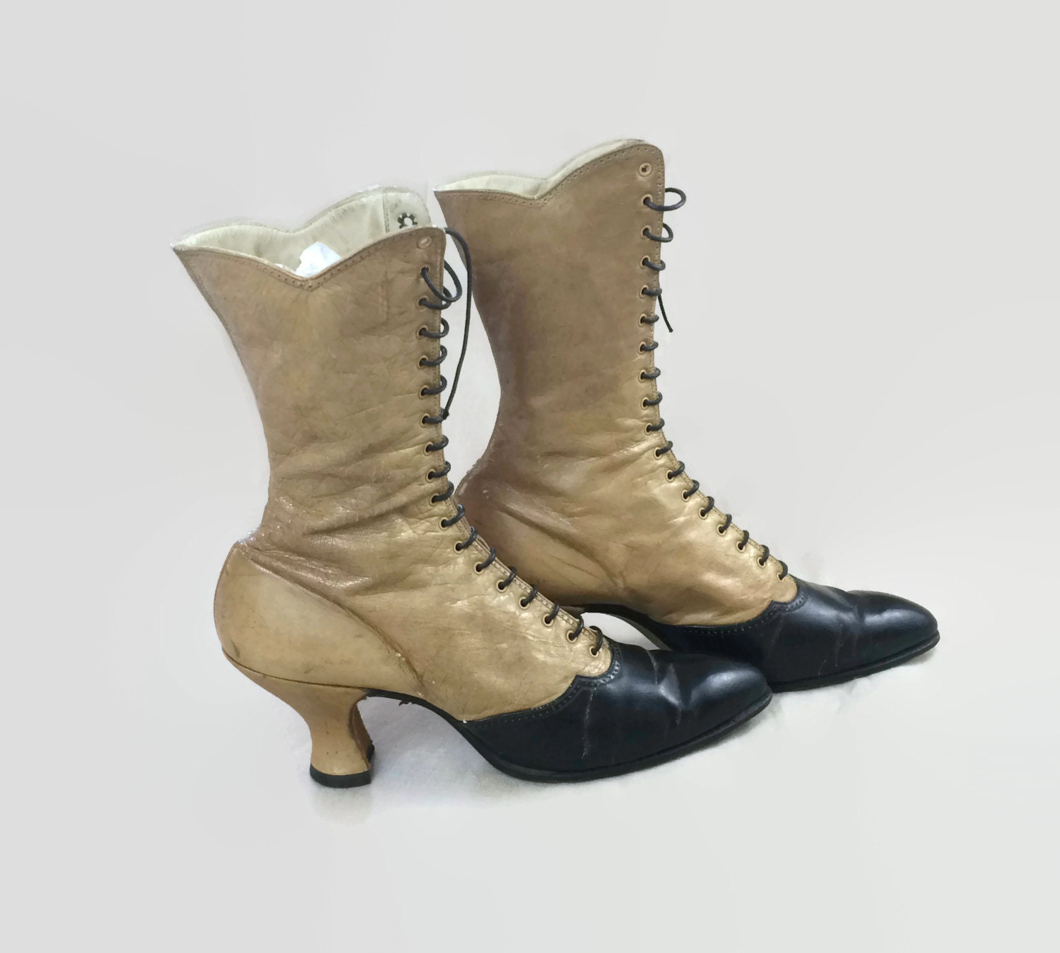 Antique Victorian Lace Up Boots Two Tone Edwardian Shoes