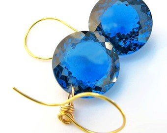 14k Gold Cushion Cut London Blue Topaz Earrings