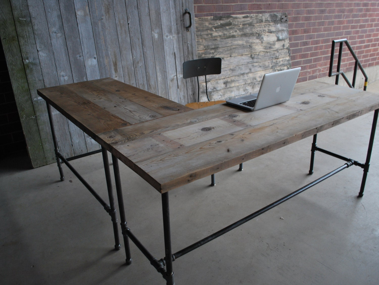 l shape modern rustic desk made of reclaimed wood choose your