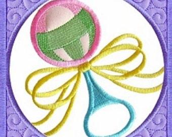 Machine Embroidery Design Baby Quilt Block Rattle