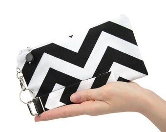 Chevron clutch - small purse - black & white bridesmaid clutch gift - womens wristlet - summer evening bag - fabric handbag