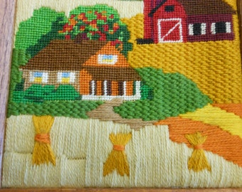 Vintage finished stitchery barn and house in an autumn field 9 by 11 inches