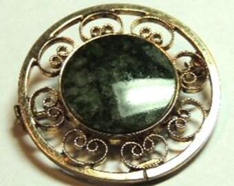 Catamore Brooch Pin Pendant, 1/20 12GF,Green Jade Ornate, 70s, Brooch, Vintage Pendant, Vintage Jewelry
