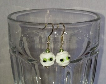 Mummy with Green Eyes Halloween Lamp Work Dangle Earrings