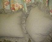 Washed Natural Flax Linen Ruffled Euro Shams-Three Ruffled Washed Linen Euro Shams-Zippered Euro Shams-Natural Flax Linen Bedding