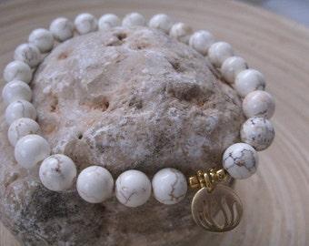 Big Bead Howlite Bracelet, Lotus Bracelet, White Beaded Bracelet, Mala Jewelry, Mens White Howlite Bracelet, Gold Lotus Charm, layer jewelry