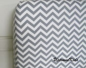 Baby Toddler crib sheet gray and white chevron pattern