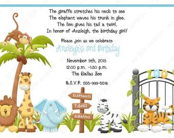10  Zoo Birthday Invitations with Envelopes.  Free Return Address Labels