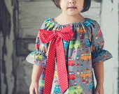 Girl's Lovely Peasant Dress with Big Bow School Bus Gnomes Sz.12-18M 24M/2T 3T 4T 5 6  8