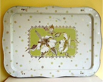Vintage Metal Bed Tray with Folding Legs,Green Hibiscus by LaVada, Well Used
