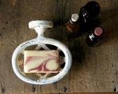 Antique Enamelware Soap Dish Holder for Bathroom White Enamel