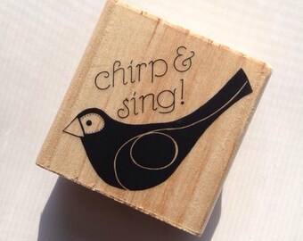 CHRISTMAS in JULY SALE Chirp & Sing Bird Rubber Stamp // Brand New