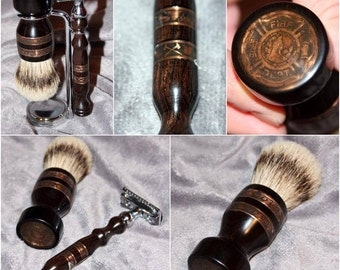 Fireman Policeman Army Navy Marines Double Edge Safety razor shaving set brush silvertip badger hair retirement Personalized  CUSTOM ORDER