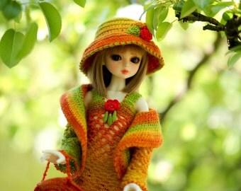 Mnf Msd 1/4 Unoa Dollfie Set Coat Dress Bag Shoes Hat Jacket for Mnf Ooak fantasy rainbow yarn Mnf Outfit Sweater Mnf Coat Jacket