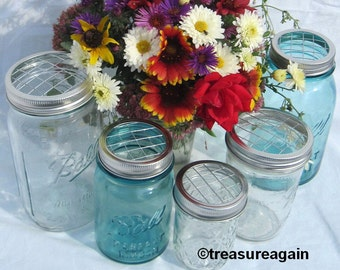Mason Jar Flower Lid Mixed Sizes 5 Upcycled FLOWER FROG LIDS  Wide Mouth, Regular, Garden, Wedding, Centerpiece, No Jars