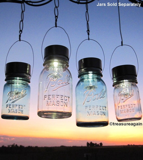 Mason Jar Lighting Hanging Mason Jar Solar Light LIDS 4 Outdoor Gardening Upcycled Lights for Canning Fruit Jars, Lids Only No Jars