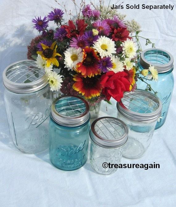 mason jar flower lid mixed sizes 5 upcycled flower frog lids. Black Bedroom Furniture Sets. Home Design Ideas