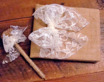 Rustic Burlap Guest Book and Pen Set