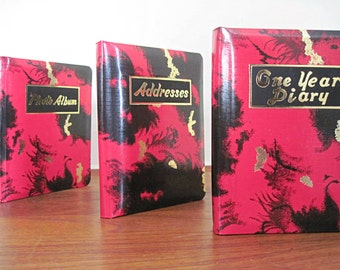 set of 3 - vintage PHOTO Album, ADDRESS Book, and One Year DIARY - nos, never used, in original box, deadstock - red, black & gold marble