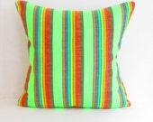 Mexican embroidered pillow, Pillowcase aztec, Green cushion, Boho apartment, Bohemian Decor, Bohemian pillow cover, Boho room decor.