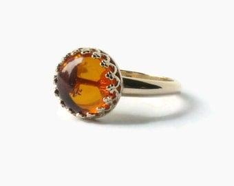 Gold amber ring Yellow gold ring wedding anniversary ring 14k gold ring gemstone ring solid gold ring