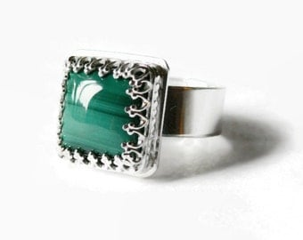Sterling silver ring natural green stone ring silver malachite ring chunky square ring wide silver ring