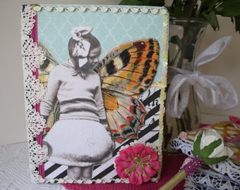 Butterfly Girl Journal Notebook Diary  Collage Decoupaged Altered Art by My Cozy Cottage Designs