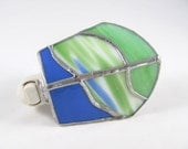 Cobalt Blue Kelly Green and white Hand Crafted Stained Glass Electric Night Light