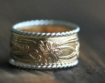 Art Nouveau Ring 14K Gold Filled Band & Two Twisted Silver Stackable Rings w Secret Message- Promise Ring Set, R056