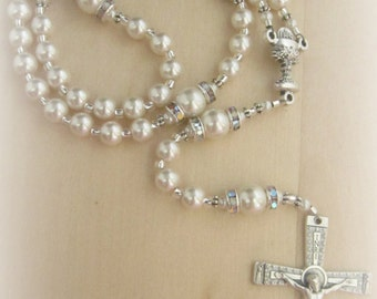Elegant Traditional First Communion Personalized Pearl and Rhinestone Rosary
