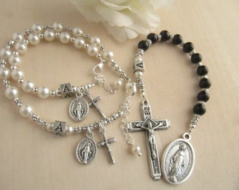 Catholic Baby Godparent/Baby Rosary Gift Set - Personalized for All
