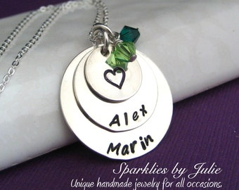 BLESSED - Personalized handstamped sterling silver necklace with Swarovski birthstones, Mother, Grandmother Jewelry