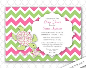 Sea Turtle Baby Shower Invitation / girl  / pink green  / printable digital file / printing available, under the sea birthday party