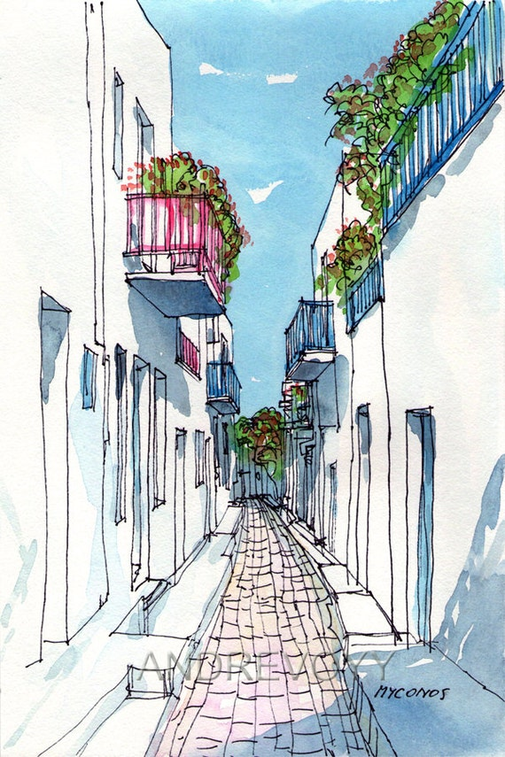 Mykonos Small Street Greece Art Print From An Original