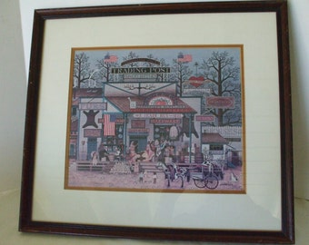 "Charles Wysocki - Framed Print - ""Trading Post"" - Vintage - Ready to Hang - Americana Artist - Gifts - #135"